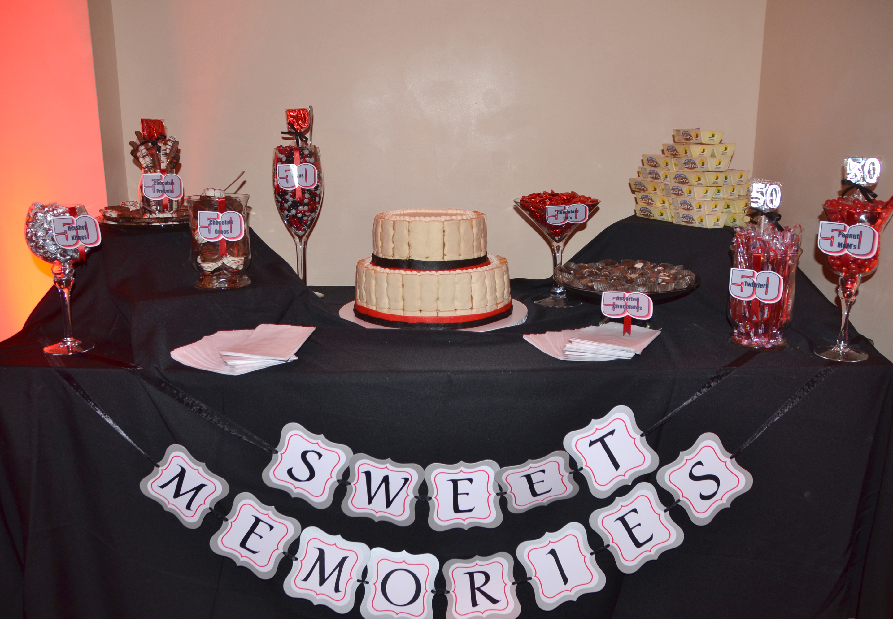 sweet memories table with custom Tastykake Krimpet cake and lemon pie tower (the guest of honoe loves Tastycakes)